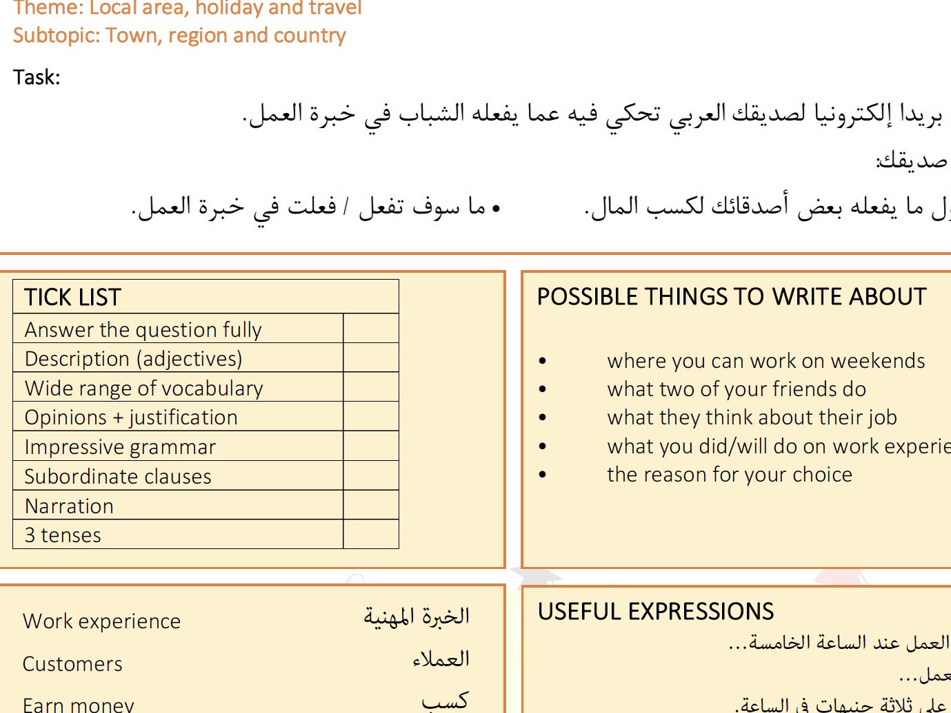 Gcse Arabic Writing Worksheets And Speaking Questions By Chawki