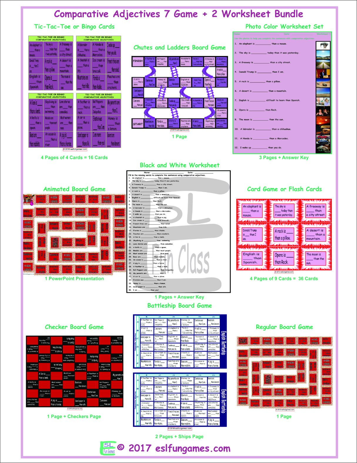 Comparative Adjectives 7 Game Plus 2 Worksheet Bundle By