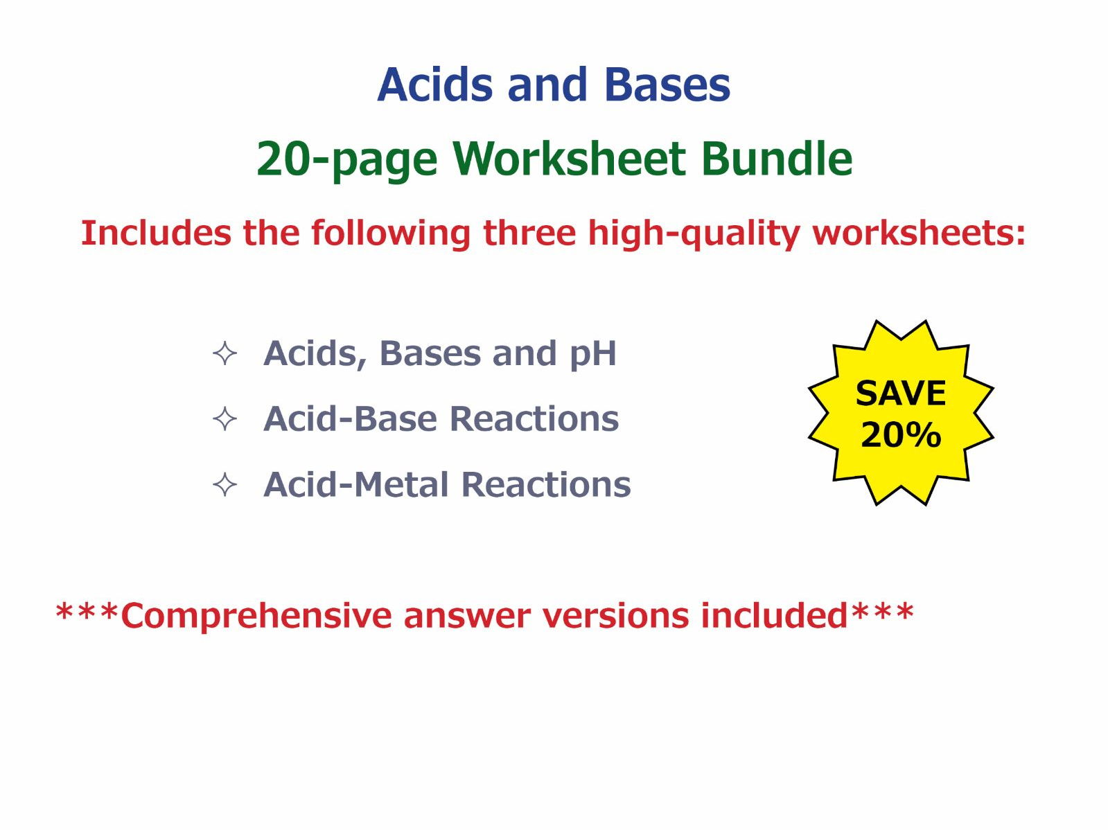 Acids Bases And Ph Worksheet