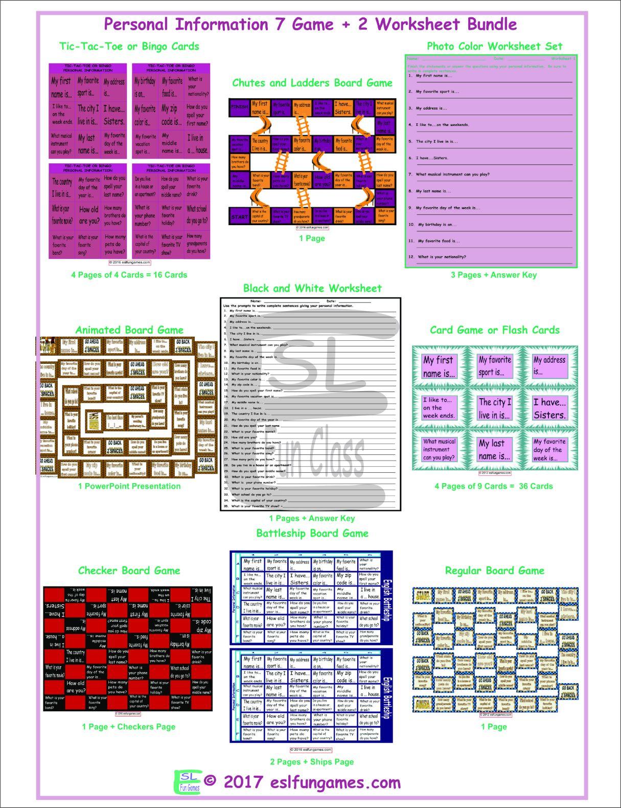 Personal Information 7 Game Plus 2 Worksheet Bundle