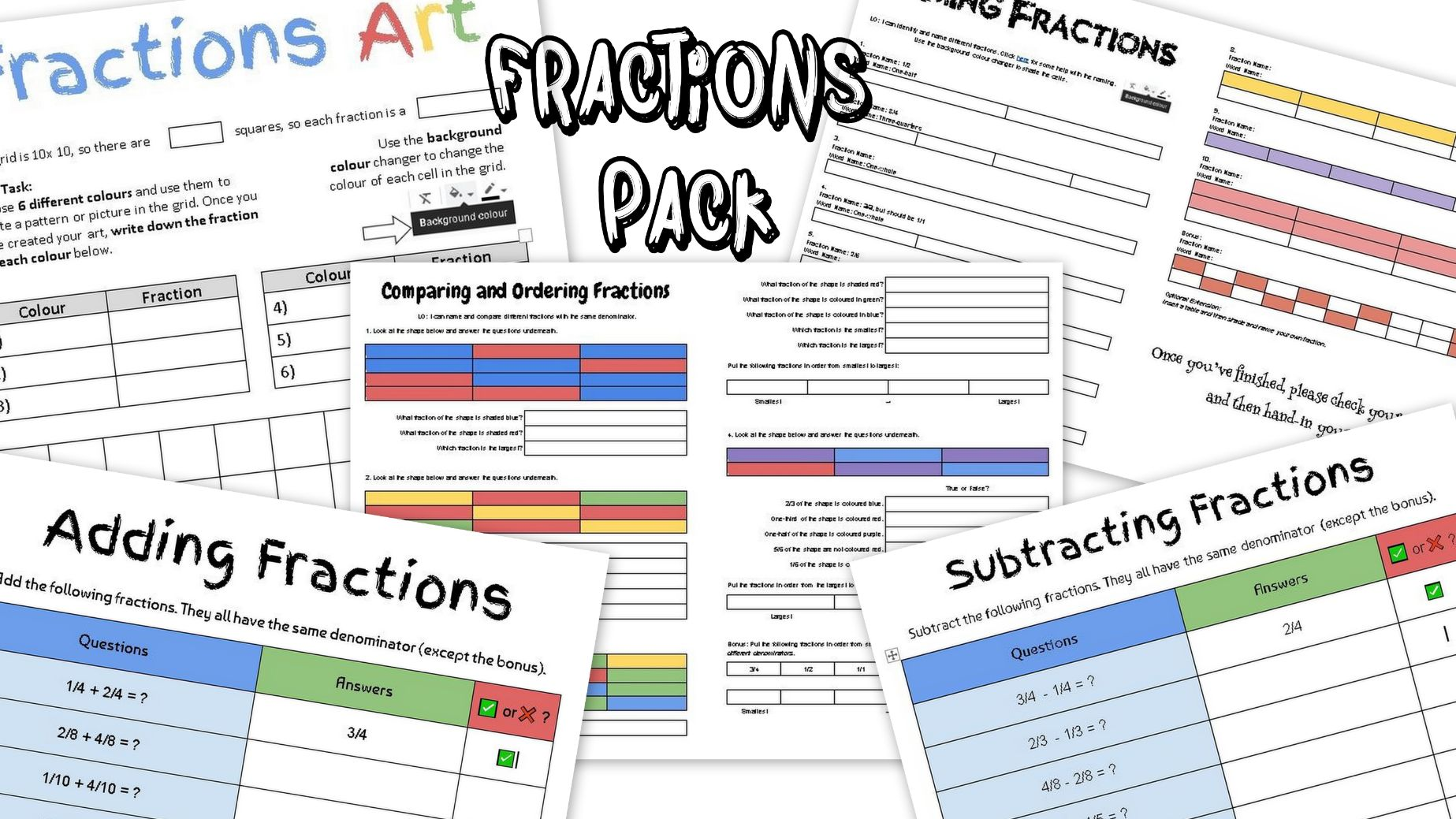 Fractions Worksheet Pack