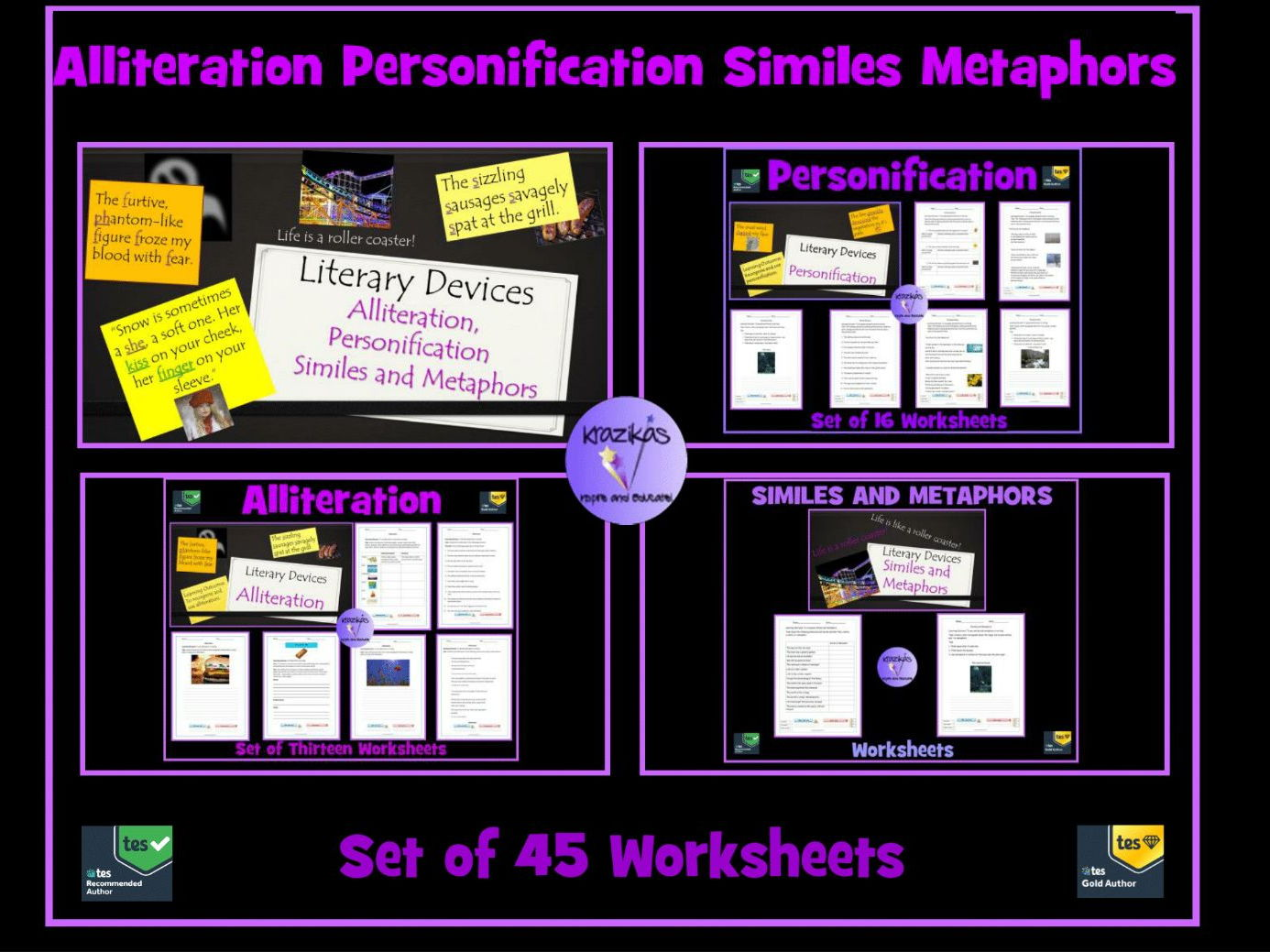Similes Metaphors Personification Alliteration 45
