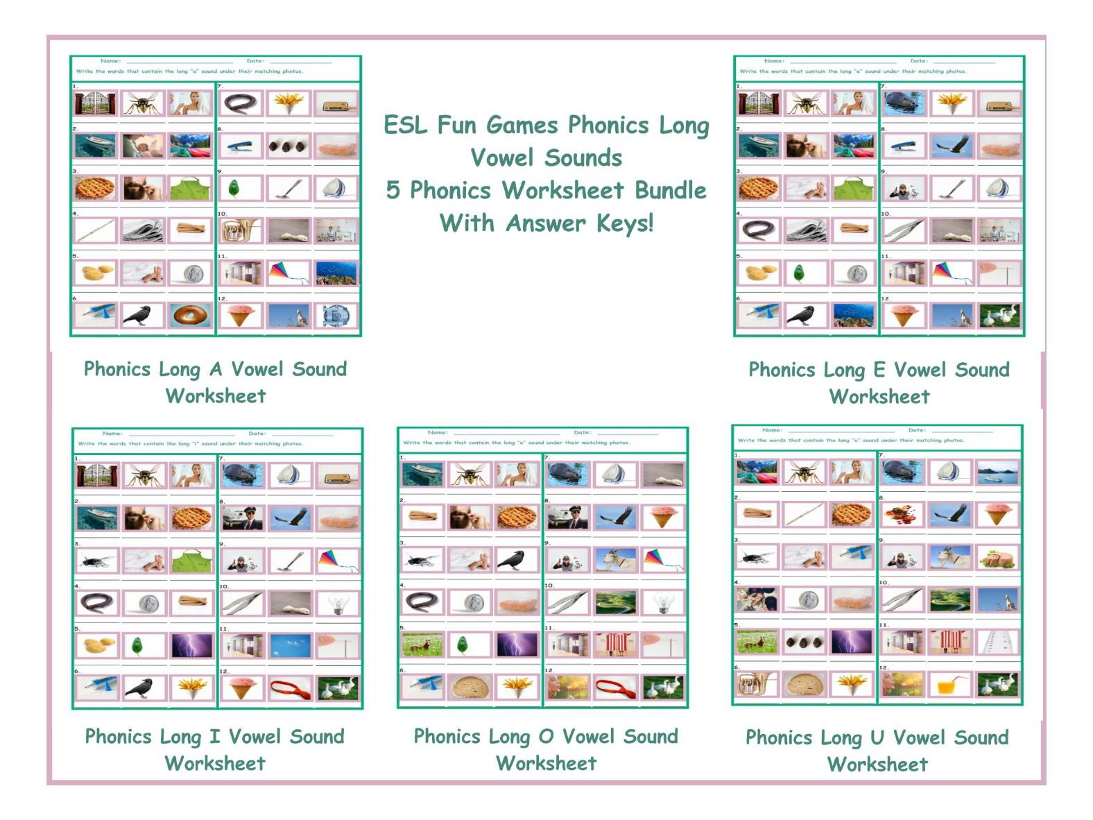 Phonics Long Vowel Sounds 5 Worksheet Bundle By