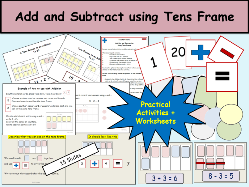 Using Ten Frames To Add And Subtract | Frameswalls.org
