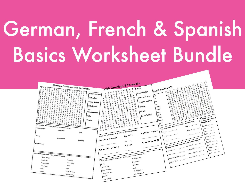 German French Amp Spanish Basics Worksheet Bundle