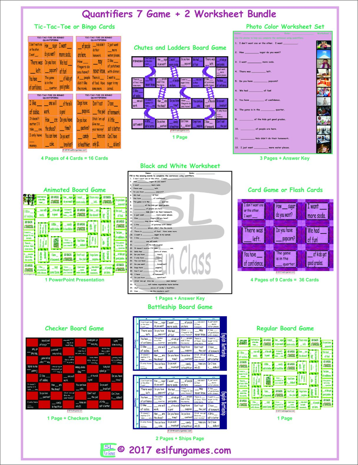 Quantifiers 7 Game Plus 2 Worksheet Bundle By Eslfungames