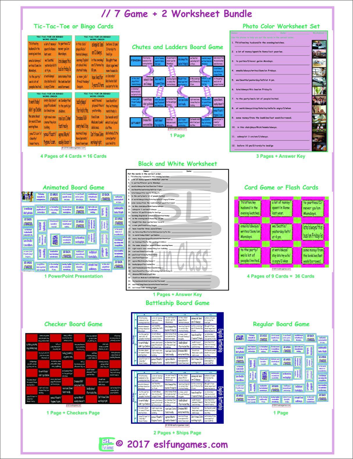 Word Order 7 Game Plus 2 Worksheet Bundle