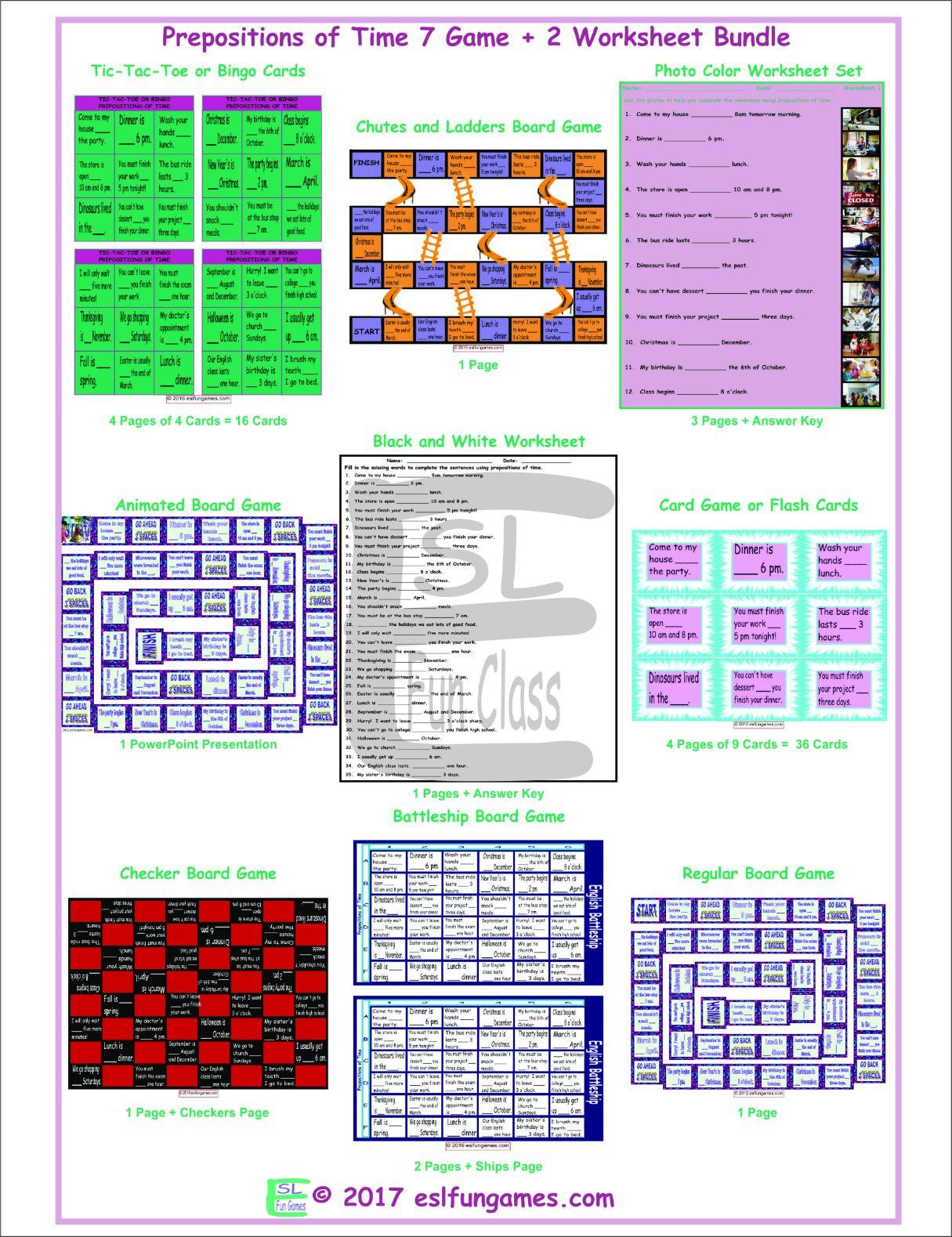 Prepositions Of Time 7 Game Plus 2 Worksheet Bundle By Eslfungames