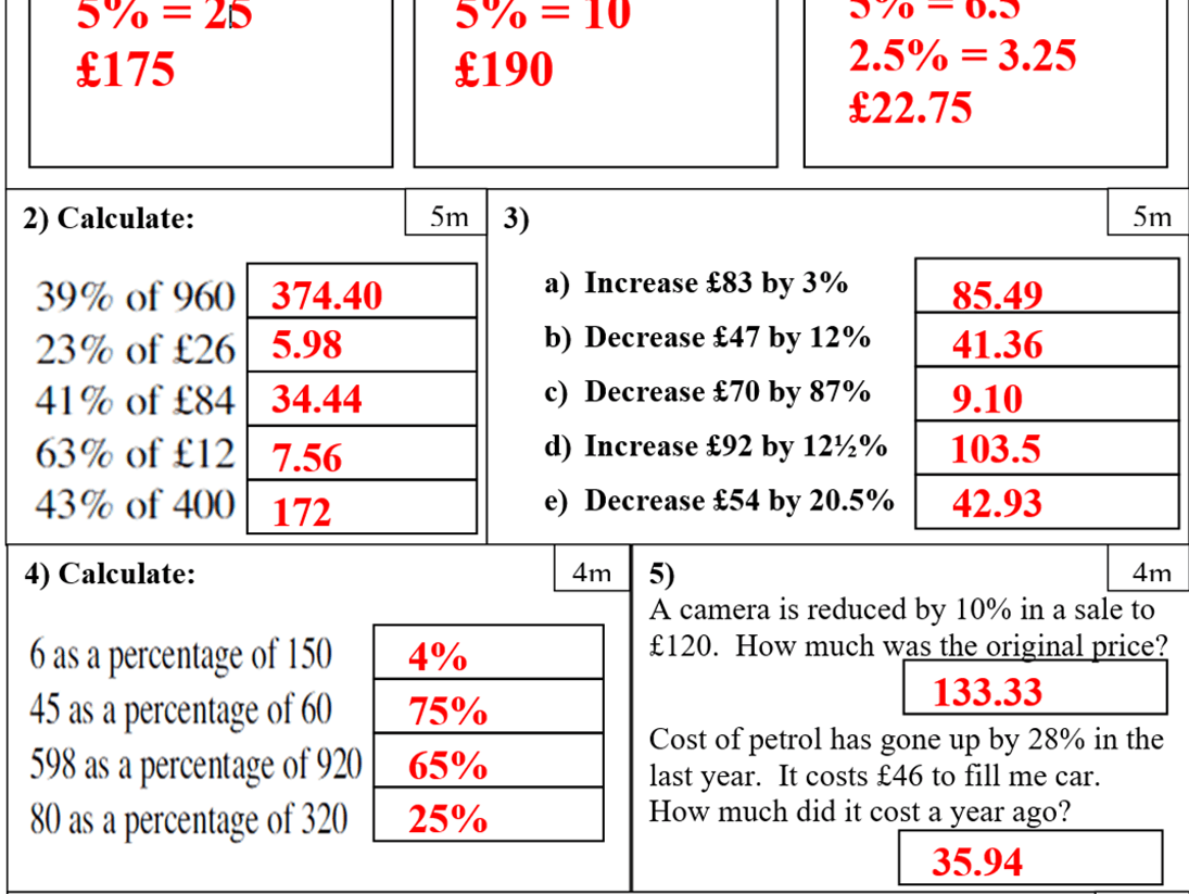 Primary Number Teaching Resources Percentages
