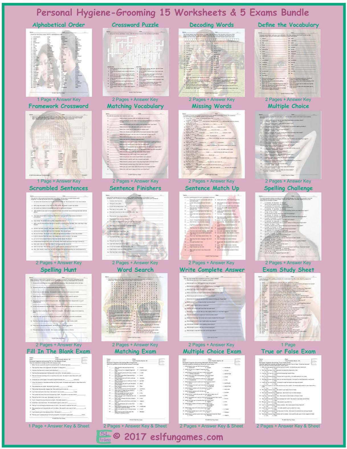 Personal Hygiene Grooming 20 Worksheet Exam Bundle By Eslfungames
