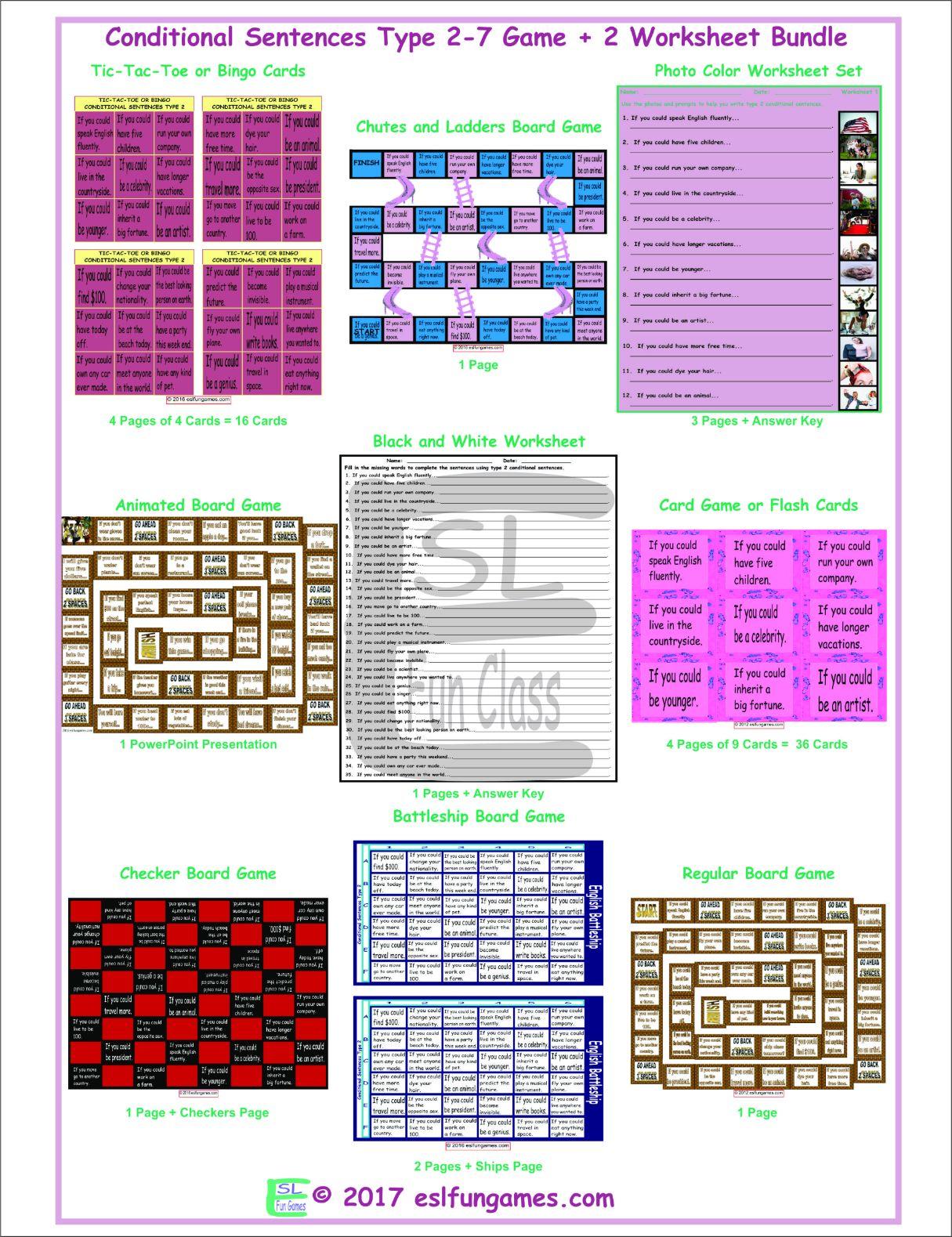 Conditional Sentences Type 2 7 Game Plus 2 Worksheet Bundle By Eslfungames