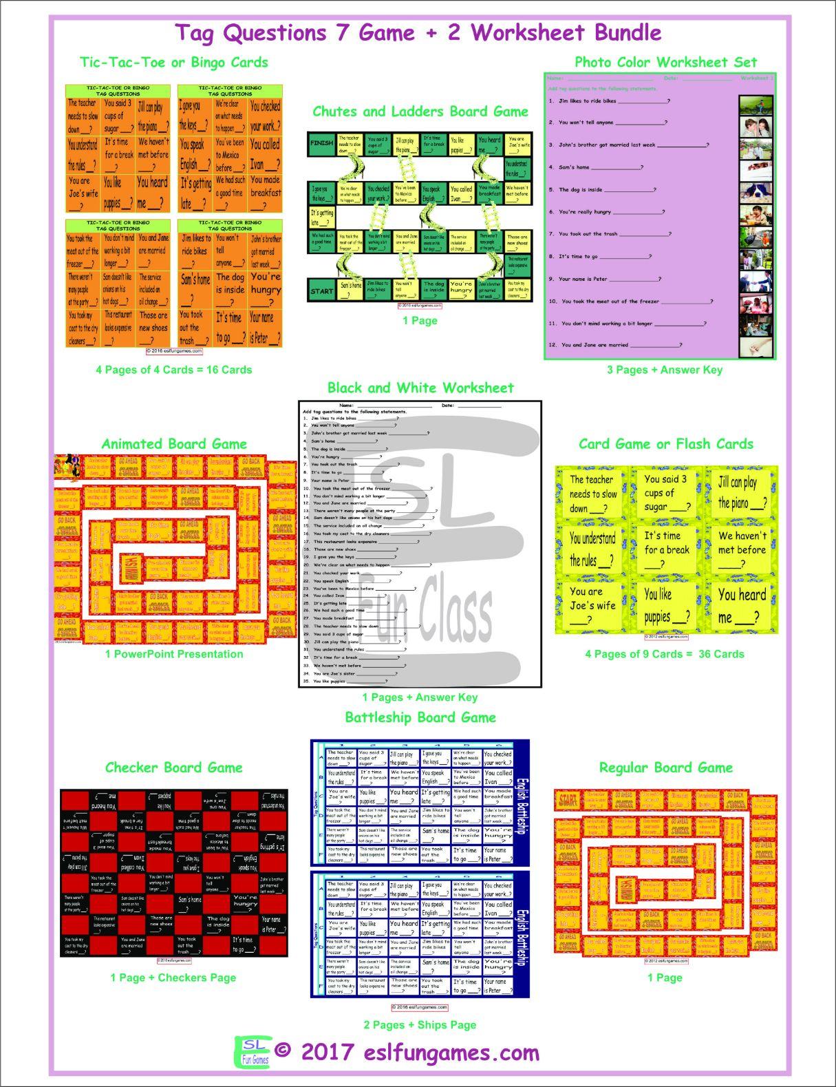 Tag Questions 7 Game Plus 2 Worksheet Bundle