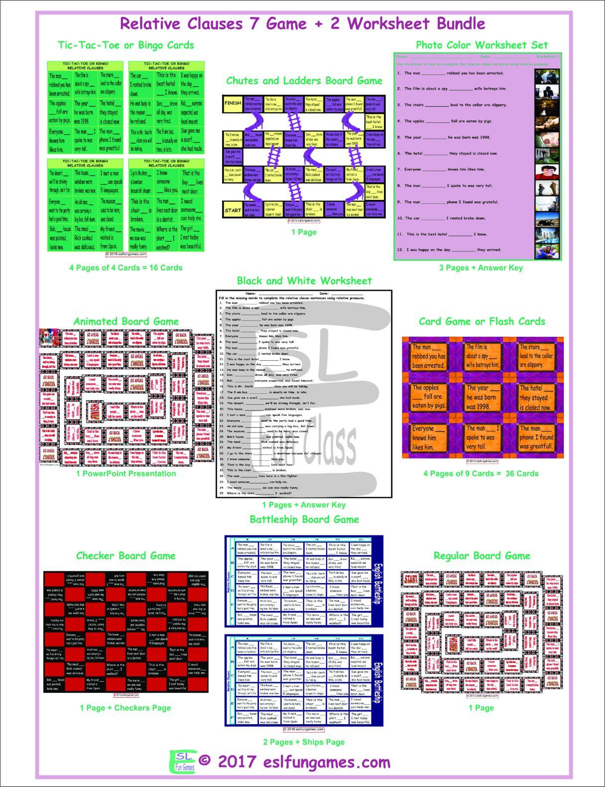 Relative Clauses 7 Game Plus 2 Worksheet Bundle