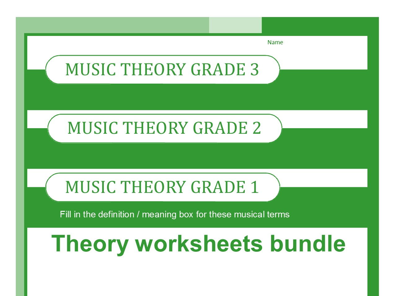 Music Theory Worksheets For Grades One Two And Three By Sparkhallo