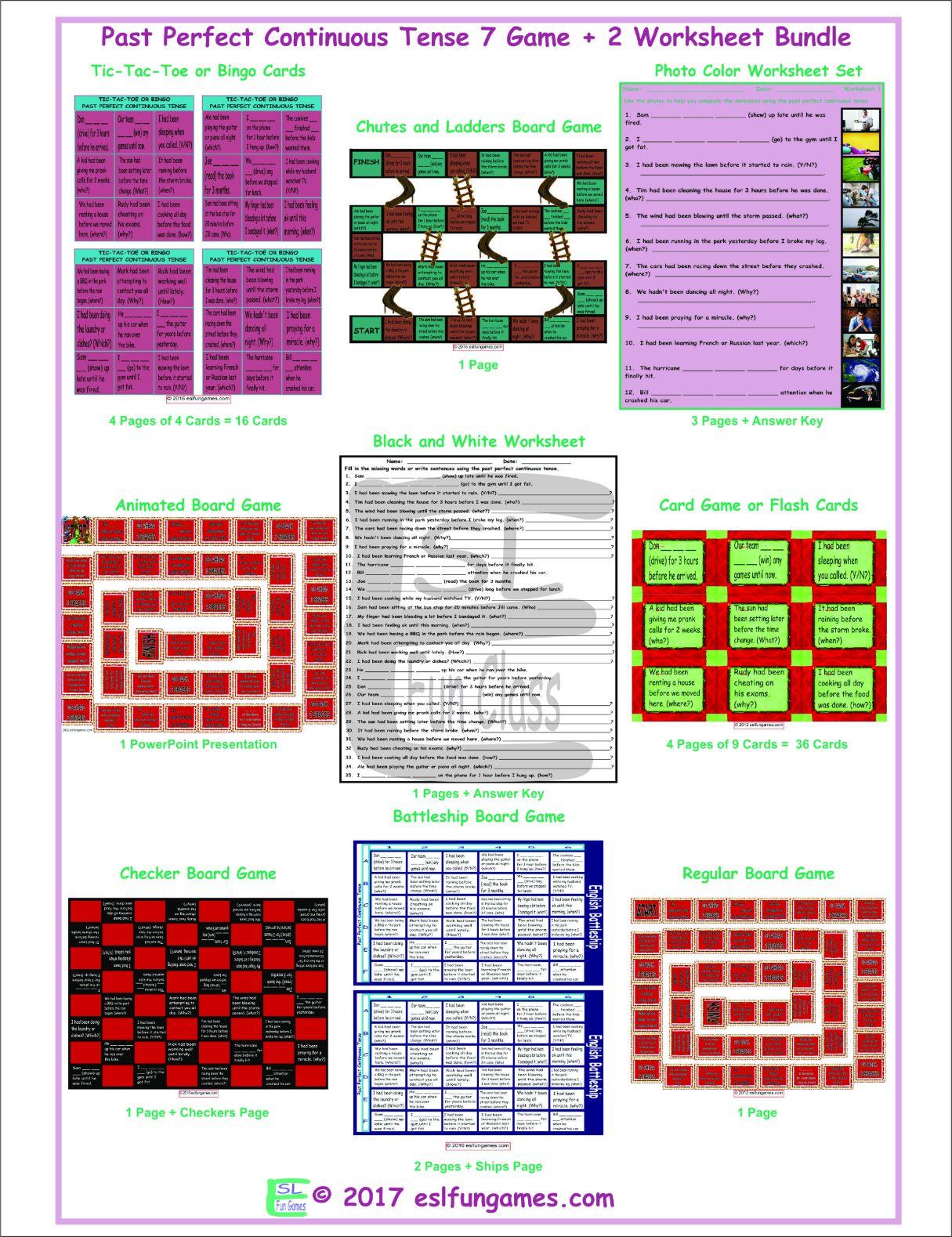 Past Perfect Continuous Tense 7 Game Plus 2 Worksheet