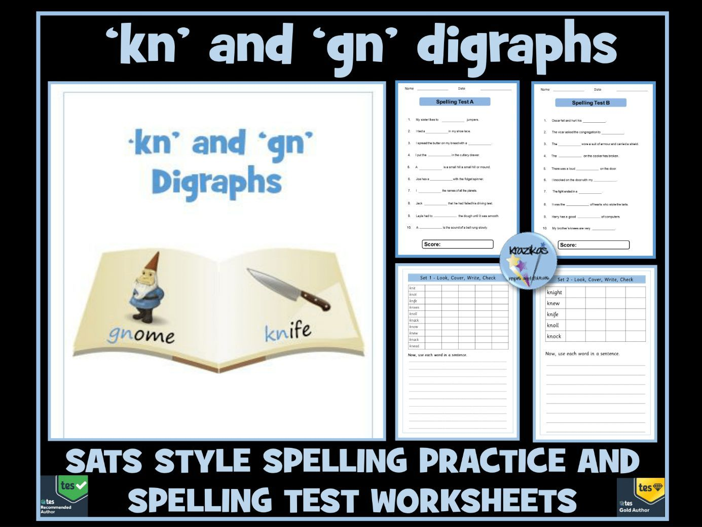 Kn And Gn Digraphs Spelling Practice And Tests