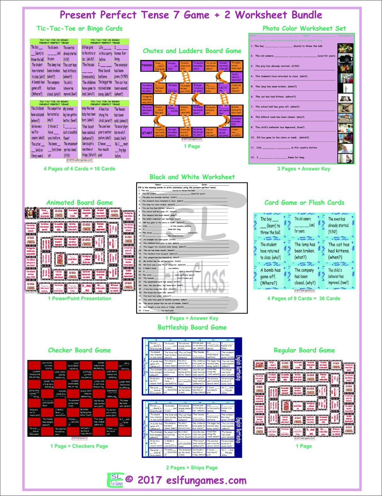 Present Perfect Tense 7 Game Plus 2 Worksheet Bundle