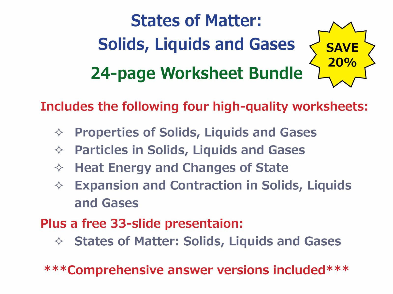 States Of Matter Solids Liquids And Gases Worksheet Bundle By Goodscienceworksheets