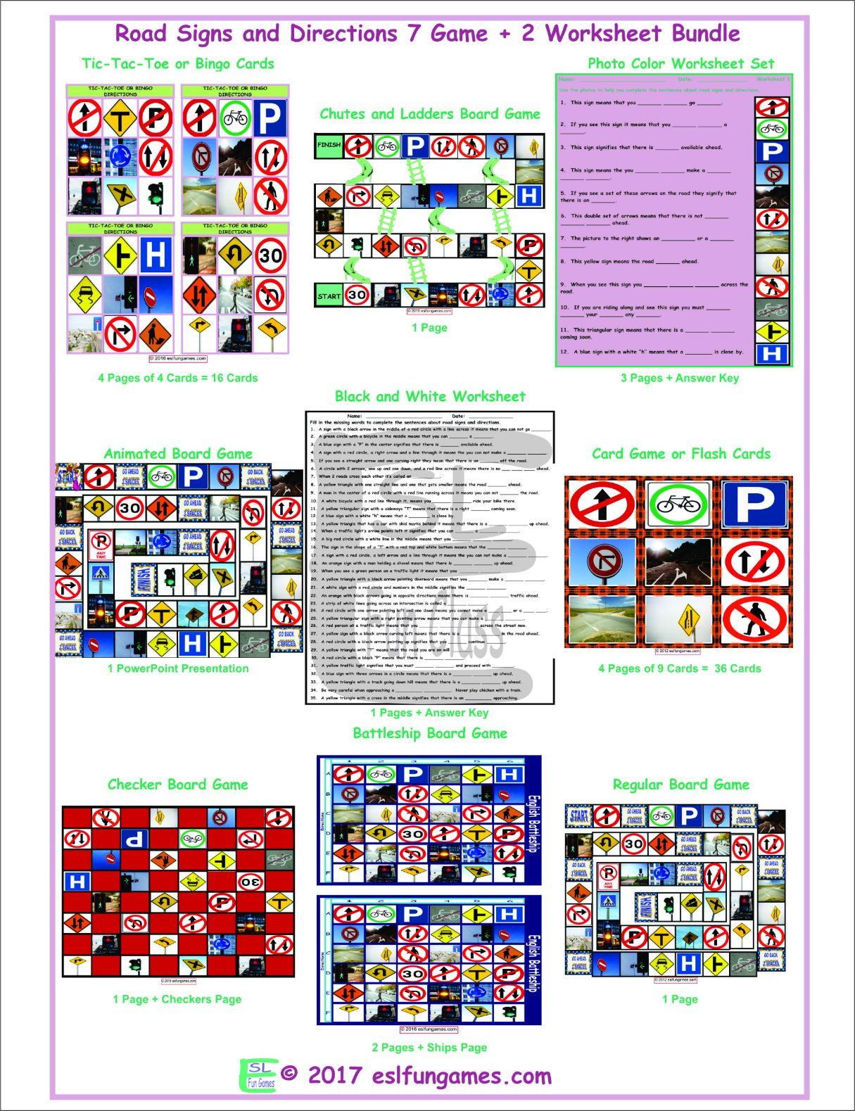 Road Signs And Directions 7 Game Plus 2 Worksheet Bundle