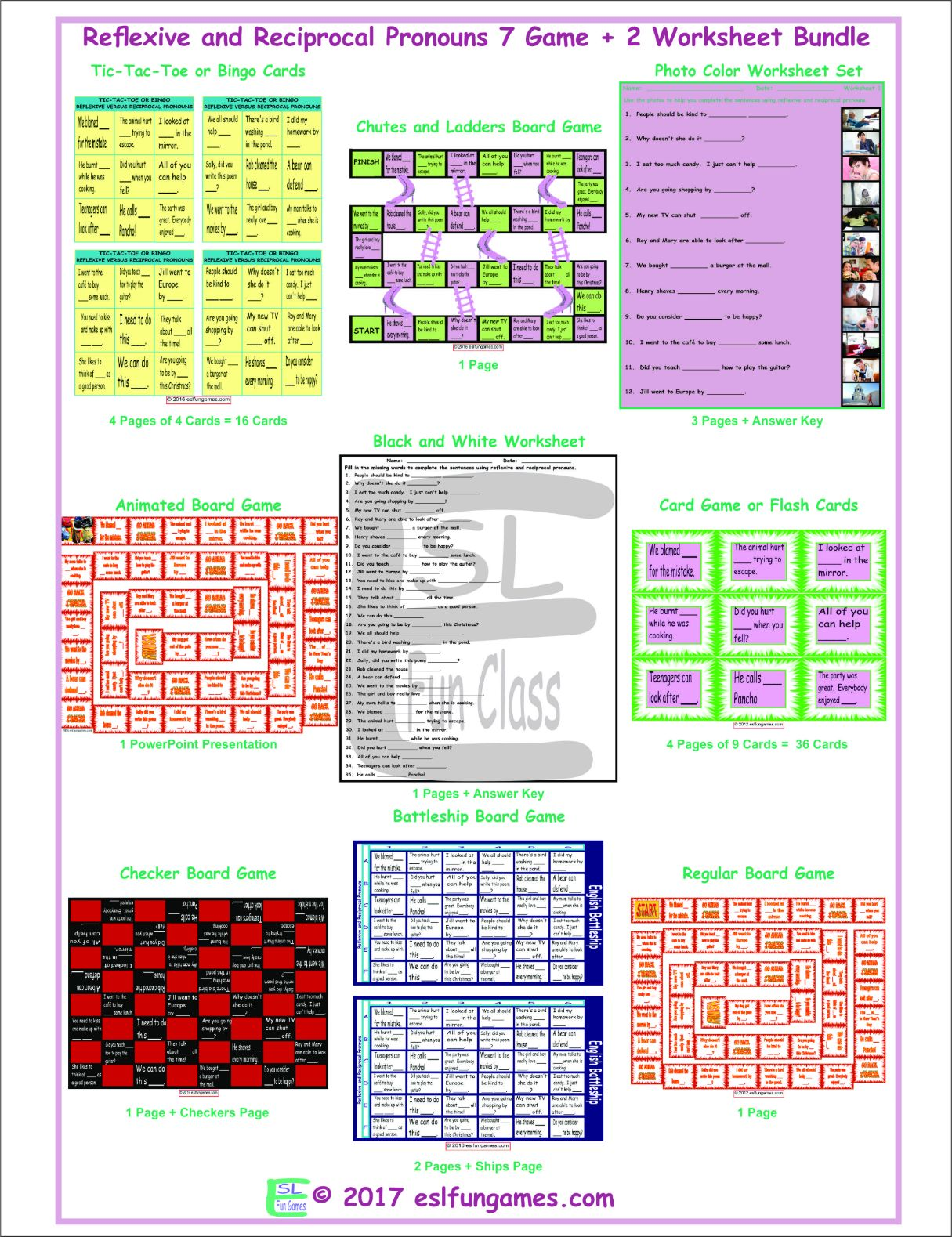 Reflexive And Reciprocal Pronouns 7 Game Plus 2 Worksheet
