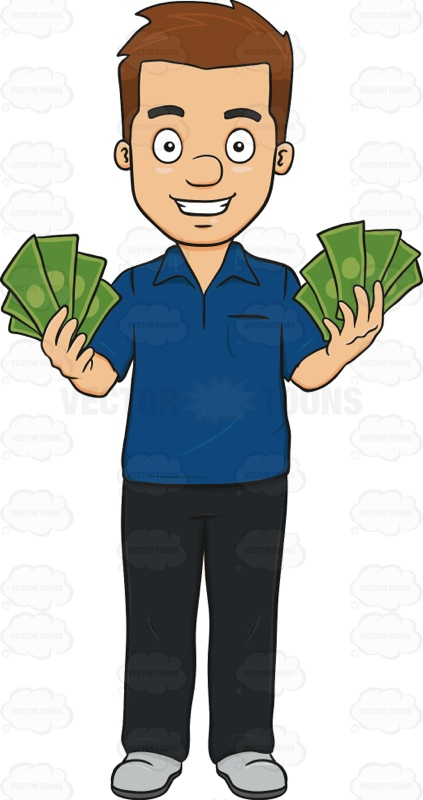 Happy And Satisfied Guy Holding Up A Bunch Of Money 1