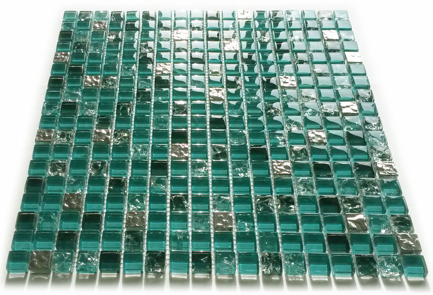 teal turquoise green silver crackle glass square mosaic tiles 8mm