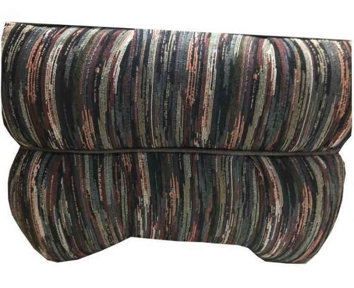 pair of multi striped ottoman footstool hassocks