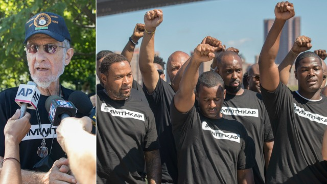 NYPD officers support Colin Kaepernick at rally