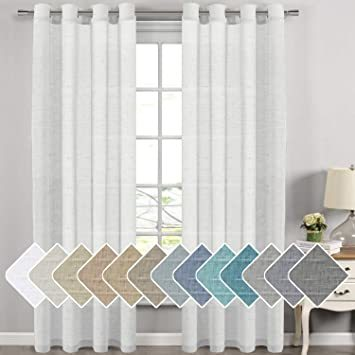 h versailtex extra long linen curtains window treatments for living room rich linen sheer curtain panels and drapes classic nickel grommet extra long
