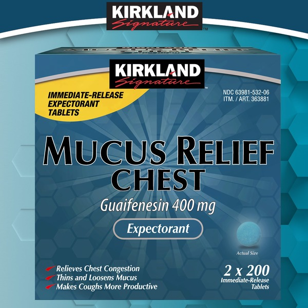 Kirkland Signature Mucus Relief Chest 400 mg Tablets, 400 ... on Kirkland Costco Pharmacy id=52139