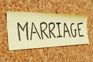 marriage concept word on a sticky note