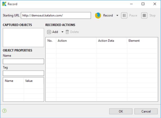 Katalon Studio Web Recorder Dialog