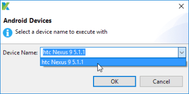 Select the device for executing test case