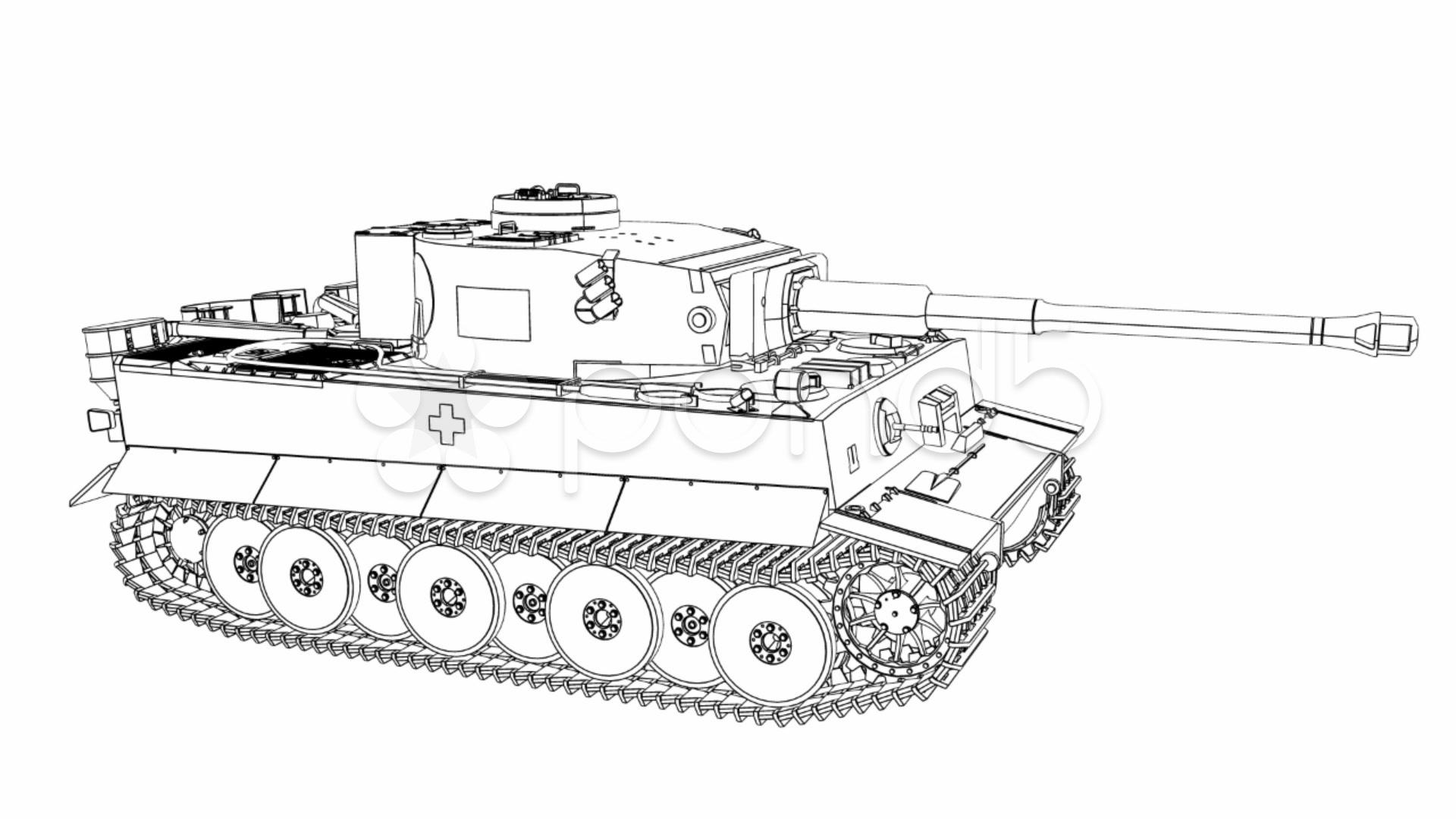 Draw Tiger Tank P Stock Video