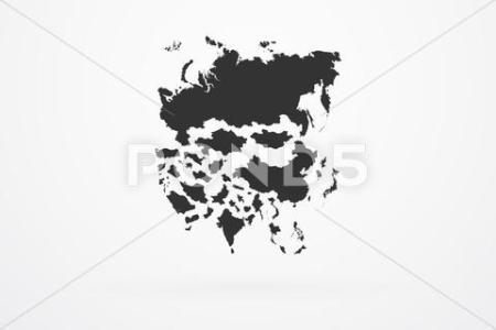Asia Continent Map With Country Border   Stock Images Page   Everypixel Asia Continent Map With Country Border