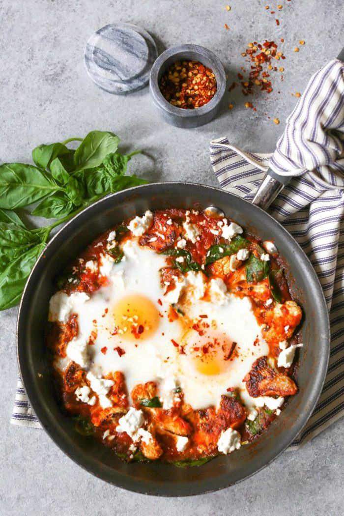 5-Ingredient Skillet Eggs with Spinach and Roasted Cauliflower from Domesticate Me