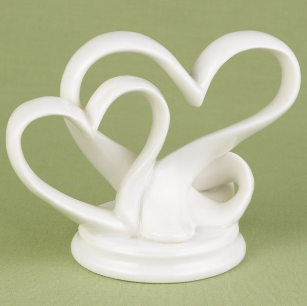 Double Heart Porcelain Wedding Cake Topper Double Heart Porcelain Wedding Cake Topper image  Cake Top Shown