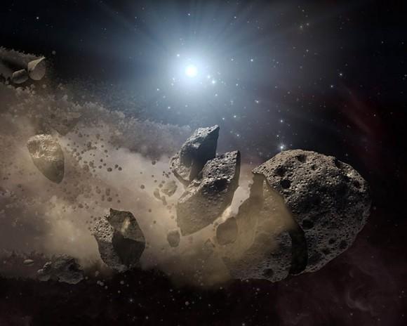 Artistas concepto de asteroides rallado alrededor enana blanca (NASA / JPL-Caltech)