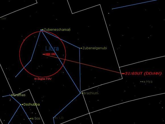 Una mirada de cerca en el paso de 1998 QE2, que abarca un período de 48 horas centrado en el máximo acercamiento el 31 de mayo.  (Creado por el autor en la noche estrellada).