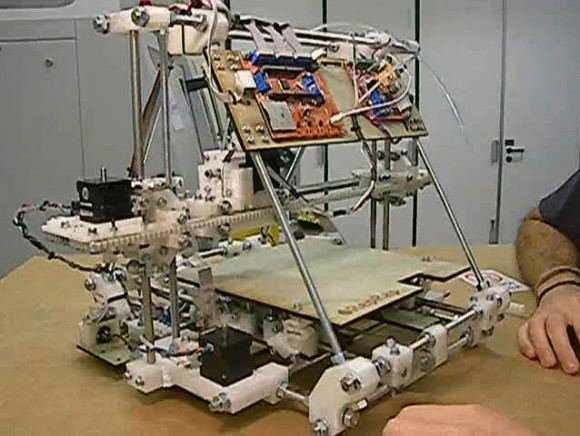 "The RepRap self-replicating printer 'Mendel"". (Credit: CharlesC under a Creative Commons Attribution-Share Alike 3.0 Unported license)."