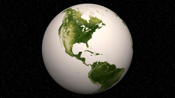 Hemisferio Occidental-Vegetación en nuestro planeta.  Las zonas verdes más oscuros son los más exuberantes en vegetación, mientras que los colores claros son escasos en la cubierta vegetal, ya sea debido a la nieve, la sequía, el rock, o áreas urbanas.  Suomi NPP datos de satélite desde abril 2012 hasta abril 2013 se utilizó para generar estas imágenes.  Crédito: NASA / NOAA