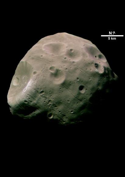 The Mars cara orientada hacia Phobos. Crédito: ESA / DLR / FU Berlin (G. Neukum)