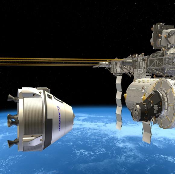 Boeing CST-100 tripulantes muelles de vehículos en la ISS.  Crédito: Boeing