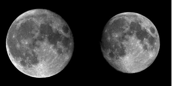 ¿Puede usted ver la diferencia?  Una comparación lado a lado del perigeo y apogeo lunar.  (Crédito: Luna inconstante).