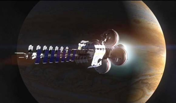 Una nave espacial realiza un pase cerca de Júpiter.  Crédito: Adrian Mann