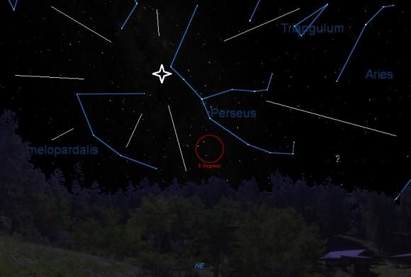 El radiante de las Persieds, mirando hacia el NE de latitide ~ 30N a las 2 local.  Creado por el autor en la noche estrellada).