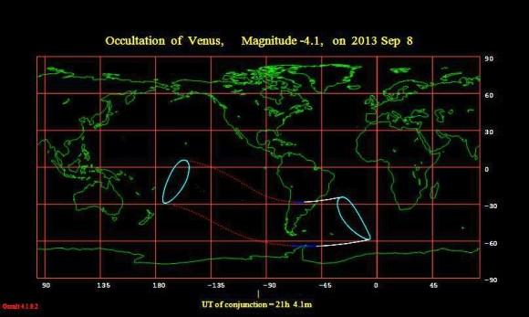 La ocultación de Venus por la Luna, la huella de la América del Sur.  (Crédito: Occult 4.1.0.2).