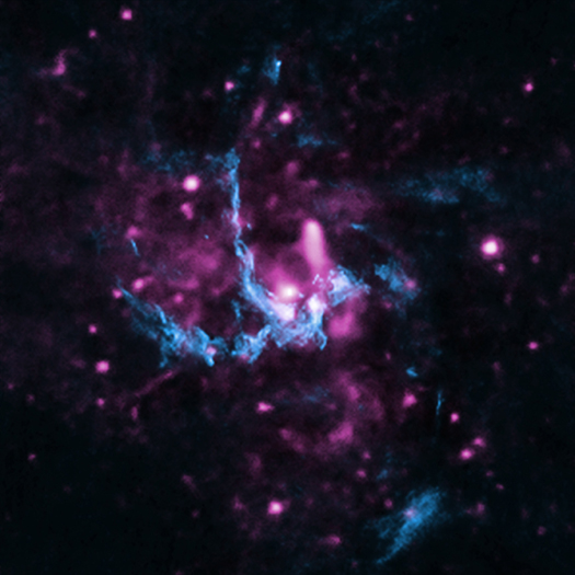 A composite image in X-ray and radio showing a likely candidate for a jet emanating from the supermassive black hole at the center of the Milky Way. X-ray: NASA/CXC/UCLA/Z.Li et al; Radio: NRAO/VLA