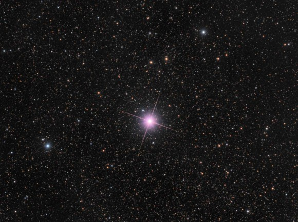 This image taken on Dec. 28, 2013 from New Zealand shows Nova Centauri 2013, a bright naked eye nova in the Southern constellation of Centaurus. The nova appears pink because of emissions from ionised hydrogen. Credit and copyright: Rolf Wahl Olsen.