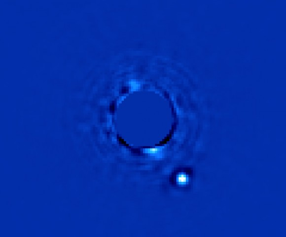 The Gemini Planet Imager's first light image of Beta Pictoris b (Processing by Christian Marois, NRC Canada)